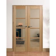 Image of W4 Oslo Oak Room Divider - Clear Safety Glass, Fully Decorated