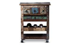 #Küchenwagen Riverhouse - recycletes Altholz - bunt lackiert