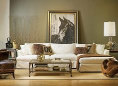 Elegant, country-style living room with oversized horse art. | Stylish Western Home Decorating