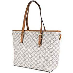 e0a983b6f8 Shopping bag donna ecopelle borsa grande capiente a spalla con tracolla  nera stampa giornaliera tutti i
