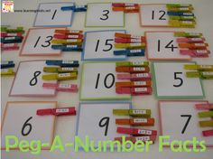 Peg-a-Number Facts - a fun game for kids to play and learn basic addition and subtraction sums. - Great for a Math Centre Math Stations, Math Centers, Math Classroom, Kindergarten Math, Maths Eyfs, Math Resources, Math Activities, Daily 5 Math, Math Games For Kids