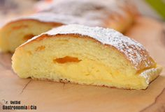 Farinosa rellena de crema pastelera Mexican Sweet Breads, Mexican Food Recipes, Vanilla Desserts, Hungarian Cake, Pan Dulce, Bread And Pastries, Food N, Churros, Desert Recipes