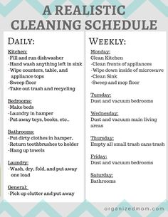 A realistic cleaning schedule moms can actually stick with. Organizing Tips. Cleaning Tips and tricks. House Cleaning Checklist, Clean House Schedule, Household Cleaning Tips, Diy Cleaning Products, Cleaning Solutions, Cleaning Hacks, Apartment Cleaning Schedule, Monthly Cleaning Schedule, Cleaning Check Lists