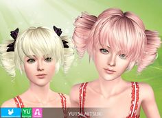 YU 154 Mitsuki short hairstyle with bows by Newsea via Sims 4 Downloads tagged sims3 ponytails hairstyle hair female bow