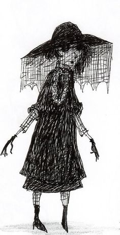 tim burtons original drawing - of Lydia from Beetlejuice