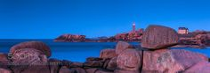 Pink granite coast panorama - Panorama of Pink Granite coast near Trégastel. Men-ruz (meaning red stone) is the lighthouse seen on this view.