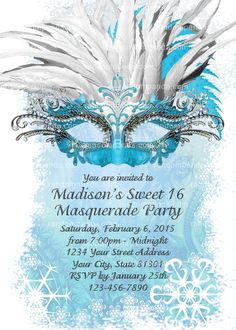 Masquerade Ball Invitation, Ice Blue Sweet 16 Party, Winter Masquerade Invite