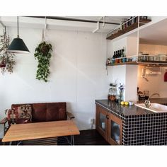 リビングとキッチンが柔らかく融合☆リノベーションで叶えた、海外風キッチン by kurobarさん | RoomClipMag | 暮らしとインテリアのwebマガジン