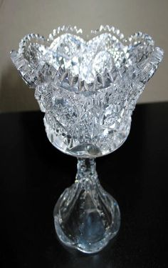 ANTIQUE AMERICAN BRILLIANT CUT GLASS COMPOTE SIGNED CLARK