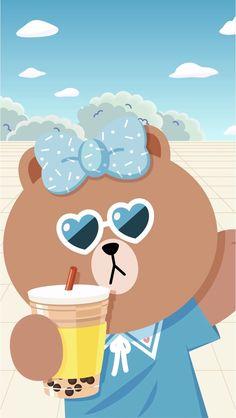 Lines Wallpaper, Bear Wallpaper, Kawaii Wallpaper, Iphone Wallpaper, Kawaii Chan, Mickey Mouse Wallpaper, Kakao Friends, Cute Love Pictures, Korean Art