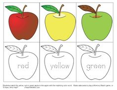 Apple activities: Apple Color Word Matching Game. FREE printables.