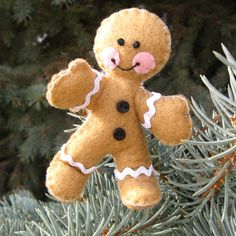 Gingerbread Man Poseable Ornament by gigglesnortsociety on Etsy, $15.00