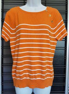 LRL Ralph Lauren Womens Size XL Orange Short Sleeve 3 Button Career Shirt  Stripe  RalphLauren  KnitTop  Casual ab8bee8c7