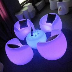 Space age LED Furniture: so mod, so chill! Makes me want to grab a cocktail, kick ma feet up & relax, *aaahhh*. Just needs Light Up Pillows, and heck yes, we've got that: http://www.flashingblinkylights.com/light-up-pillow-with-slow-change-led-mood-lighting-sku-no-11706.html
