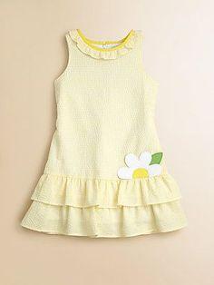 Florence Eiseman Toddler's & Little Girl's Ruffled Seersucker Dress Mais Toddler Dress, Toddler Outfits, Kids Outfits, Kids Frocks, Frocks For Girls, Girls Dresses Sewing, Little Girl Dresses, Kids Dress Wear, Kids Dress Patterns