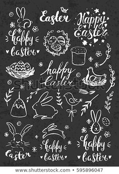 Modern calligraphy hand drawn chalk inscription happy easter and elements eggs bunny cake willow handwritten brush lettering with rough edges chalkboard watercolor artwork for spring and easter Easter Puzzles, Easter Activities For Kids, Chalkboard Lettering, Chalkboard Signs, Brush Lettering, Hand Lettering, Easter Drawings, Visual Thinking, Coloring Easter Eggs