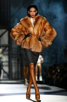 Red fox fur jacket  with my boots