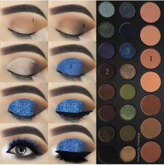 Facil is part of eye-makeup - eye-makeup Makeup Eye Looks, Eye Makeup Steps, Blue Makeup, Diy Makeup, Makeup Tips, Beauty Makeup, Queen Makeup, Makeup Charts, Anti Ride