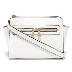 Zip-a-Dee-Doo White Purse (280 HKD) ❤ liked on Polyvore featuring bags, handbags, shoulder bags, zipper handbags, zip purse, white purse, long purses e zipper purse