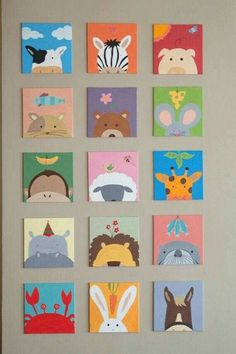 Painting for kids room 1 set painting) for baby shower - kinderzimmer Mini Canvas Art, Kids Canvas, Diy And Crafts, Crafts For Kids, Arts And Crafts, Kids Diy, Decor Crafts, Painting For Kids, Art For Kids