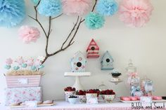 Bubble and Sweet: Party Tables like the tissue paper pom poms hung from the branch.