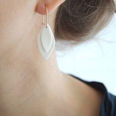 Porcelain layered teardrop earrings