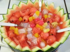 수박 화채 ~ Fruit pieces and soda in a watermelon bowl