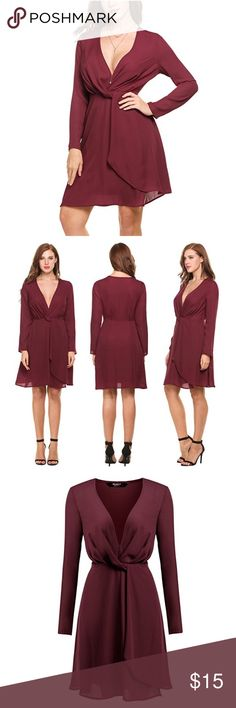 Wine red knee length deep v neck dress NWT CUTE Beautiful dress. Never worn. Unfortunately is too big for me (see pictures). Is more of a small-medium I would say. Is super pretty and the color is really nice. Could be worn with a cami underneath during the day or without for a night out look. Even prettier in person! Dresses Midi