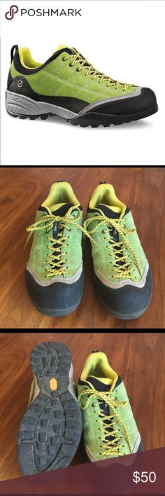 Scarpa Zen Pro Hiking Shoes Green suede upper with rugged Vibram rubber sole. Light wear. No insole. Scarpa Shoes Boots