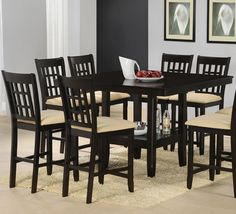 Hillsdale Tabacon 9 Piece Counter Height Dining Set in Cappuccino - - - Hillsdale Furniture Dining Room Furniture Sets, Dining Room Sets, Dining Room Table, Home Furniture, Kitchen Tables, Room Kitchen, Kitchen Ideas, Espresso, Counter Height Dining Sets