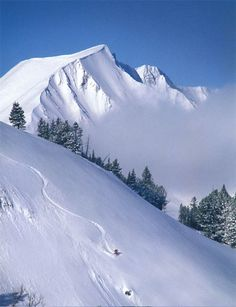 Big Sky Montana. View of Lone Peak ~11k+ elevation.   I've been to the top & snowboarded down - loved it!  #BigSky