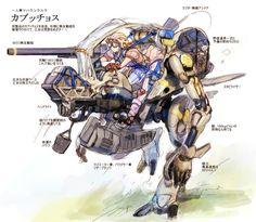 """迂闊十臓@『少年創作クラスタ』さんのツイート: """"これが、こうなるまで、塗ると やりきった感は出る。 質感の出しやすい色とそうでない色を上手いこと配置すると、メカの絵として栄える気がする。 立体感はおもに色の付け方ですね。 """" Robot Concept Art, Armor Concept, Masamune Shirow, Fighting Robots, Battle Angel Alita, Manga Anime, Sci Fi Armor, Robot Design, Mechanical Design"""