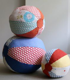 "Fabric beach balls with tutorial! Made a few for a baby shower over a year ago and have been on my ""Make More"" list ever since!"