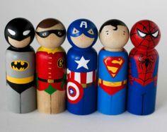 Kokeshi Style Superhero Peg Doll / Cake Topper / by WoolyLlama