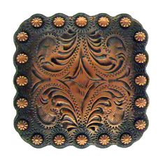 """WESTERN LEATHER CRAFT TACK ANTIQUE ENGRAVED ROSE FLOWER CONCHOS 1-1//2/"""" x 1-3//8/"""""""
