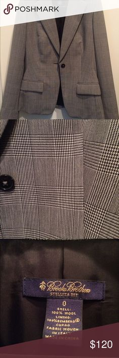 Brooks Brothers wool Stellita fit suit jacket Pristine condition.  Beautiful 100% wool jacket.  Fully lined.  One button.  Vent at back.  Matching pants also available (see separate listing). Brooks Brothers Jackets & Coats Blazers