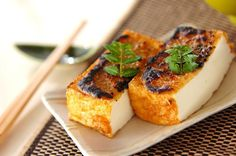 Fried tofu with sesame miso grilled