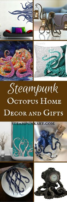 This is a gift guide for octopus fans, with a wide range of price points and styles. Enjoy swimming through these tentacled waters as you take a look at the steampunk octopus home decor and gifts for any suitable occasion including Christmas, Mothers Day, Handmade Home Decor, Unique Home Decor, Cheap Home Decor, Home Decor Accessories, Decorative Accessories, Octopus Decor, Diy Home Decor For Apartments, Steampunk Octopus, Motif Art Deco