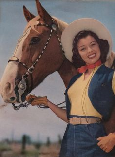 Cowgirl and Horse 1950's Art Print of Girl and by OldPaperAndPages, $5.85