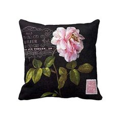Pillow Cover Pink Rose Botanical Flower on Black by JolieMarche, $35.00