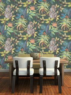 Buy Savuti in Dark Petrol Multi, a feature wallpaper from Cole and Son, featured in the Ardmore collection from Fashion Wallpaper. Monkey Wallpaper, Teal Wallpaper, Feature Wallpaper, Bedroom Wallpaper, Small Wc Ideas Downstairs Loo, Downstairs Cloakroom, Brooklyn House, Hotel Architecture, Fashion Wallpaper