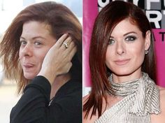 Debra Messing with and without makeup