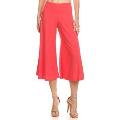 Beautiful coral gauchos! Comfortable stretch material with fold over top! Pants Wide Leg