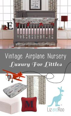 """Take your nursery to new heights with our vintage airplanes bumperless crib bedding set! This is new for 2017 and an adorable baby boy crib bedding set. Buy the 3-pc. set and get: crib sheet in classic red stripe (a ticking stripe) in all cotton with our signature one inch elastic band that ensures a snug fit crib skirt, 17"""" drop, in our vintage airplane fabric luxe minky receiving blanket, 100% luxe cuddle in charcoal...a super soft that feel you will not believe until you touch! Buy the…"""