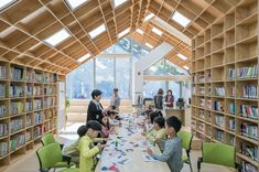 Unsangdong Architects has designed the Hannae Forest of Wisdom community centre in Seoul with a row of intersecting gabled forms enclosed by glass end walls. Community Library, Community Space, Library Architecture, Interior Architecture, School Architecture, Interior Design, School Library Design, Apartment Complexes, Site Plans