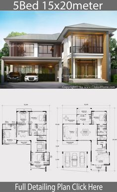 Home Renovation Design Home design plan with 5 bedrooms - Home Ideassearch - Home design plan with 5 bedroom. Contemporary two-story house with modern lines But hidden with aura Of warm materials Modern house styl Sims House Plans, House Layout Plans, Dream House Plans, House Layouts, Family House Plans, 5 Bedroom House Plans, Model House Plan, Luxury Modern Homes, Modern Lofts