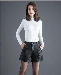 High Waist Wide Leg Pu Leather Shorts - cofashionova