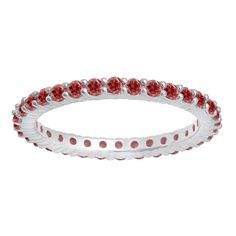 18k White Gold 1ct TW Round Ruby Eternity Anniversary Wedding Band (Size 7, White Gold), Women's, Red