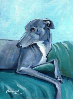 Greyhound Study by Steve Sanderson. http://www.sandersonart.co.uk/painting-archive/greyhound-study-c18511d176833.html