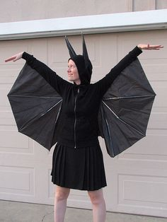 Bat costume for Halloween - made with dollar store umbrella & a hoodie